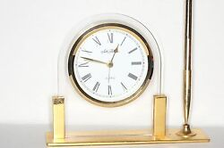 Vintage Seth Thomas Desktop Quartz Clock w/Pen - Gold Finish