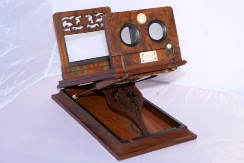 Vintage Graphoscope Burl Wood Stereo Card & Post Card Viewer with Magnifier Lens