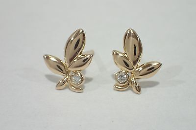 TIFFANY & CO. 18k rose gold Olive Leaf post earrings with diamond Paloma Picasso