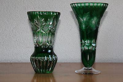 2 Bleikristall  Vasen Handgeschnitten Lausitz DDR GDR 70er Jahre Top!!!