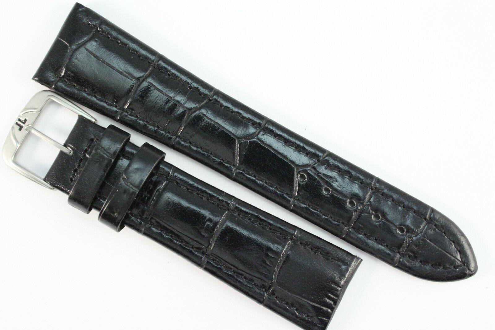 REVUE THOMMEN Uhrenarmband 22mm Kalbsleder Schwarz mit JL Schließe