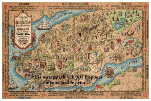 12x18 Prohibition New York Bars Poster PHOTO Pubs Liquor New York Puzzle Map