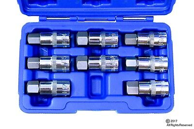 12 Drive Jumbo Hex Bit Sockets 8pc Sae Metric Set Standard Allen Wrench