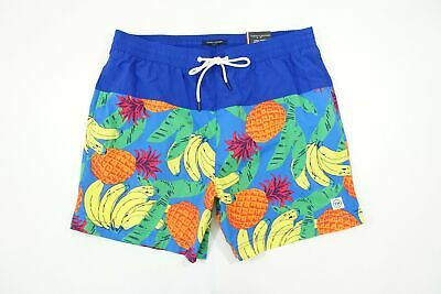 Tommy Hilfiger Tropische Früchte Banane Ananas Blau 2XL Badehose Shorts Nwt