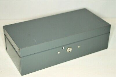 Industrial Metal Gray Cash Box With Key 11.5 X 5.5 X 3.5