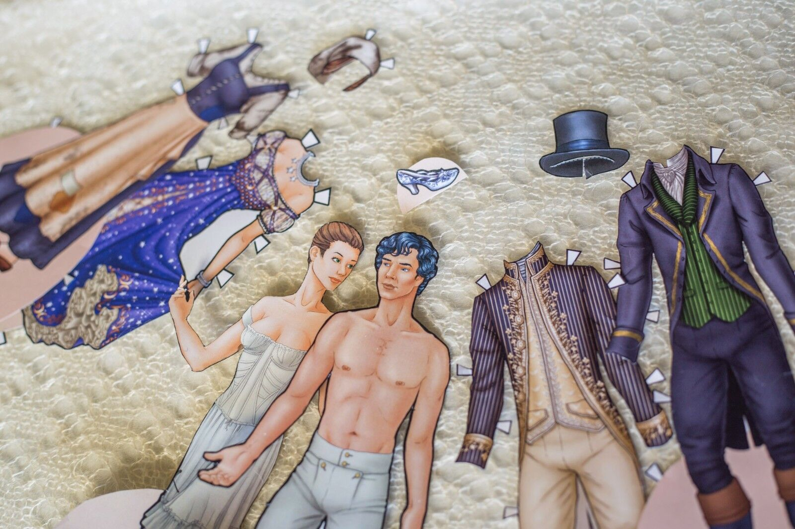 Cinderella paper dolls, original design by the Spindle Sisters, fairy tale