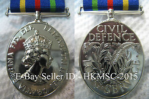 British Colonial Era Hong Kong Version - British Civil Defence Medal, Full Size