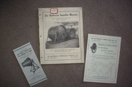 1931 Trade Catalogs DE BOTHEZAT IMPELLER COMPANY Blowers/Ventilation/AC