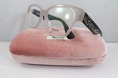 Miu Miu VMU 06O-A UE2-1O1 Clear on Black/Rock Crystals New Eyeglasses 54mm Case