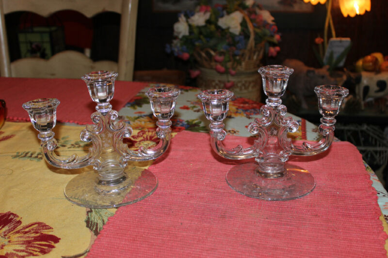 Antique Fostoria Glass Candlestick Holders-Trindle Candlestick Midnight Rose
