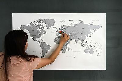 Large Size Personalized Silver Scratch-Off World Map Poster Travel