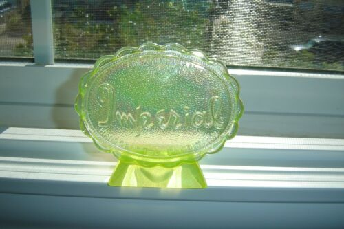"""Vintage glass Oval Imperial Yellow Vaseline Uranium """"Glow"""" Counter Dealer Sign"""