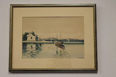 Original Watercolor Mediterranean Scene Boat Sea Church by Alexander 17