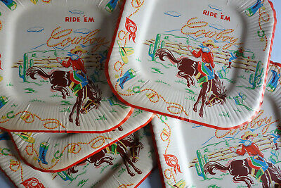 1950s True VINTAGE Western Cowboy Theme SIX Paper Party Plates Ride 'em Cowboy - Western Themed Parties