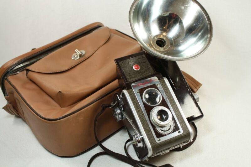 Vintage Kodak DuaFlex IV Box Camera with storage bag