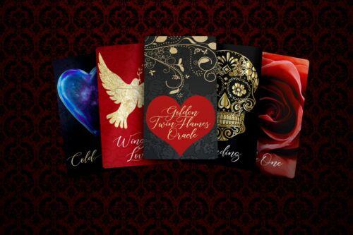 Golden Twin Flames Love Oracle Deck, Gilded Tarot, Red Velvet Bag, Rose Quartz
