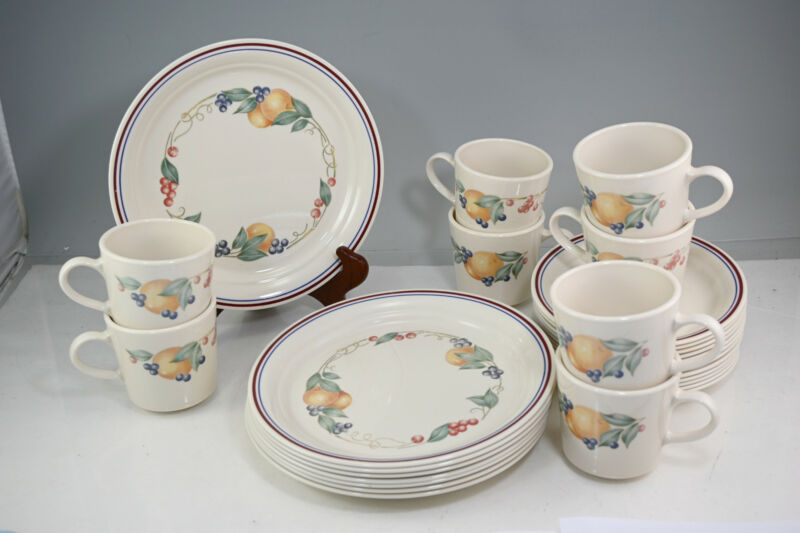 Corelle Abundance 8 Luncheon Plates With 8 Cup & Saucer Sets