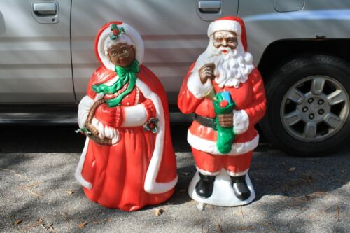 """40"""" African American Santa & Mrs. Claus Light Up Blow Mold EUC ( LOCAL PICK UP )"""