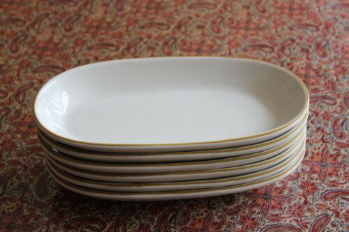 Vtg Buffalo USA Restaurant Ware Oval Shallow Side Dish White Brown Rim Set of 6