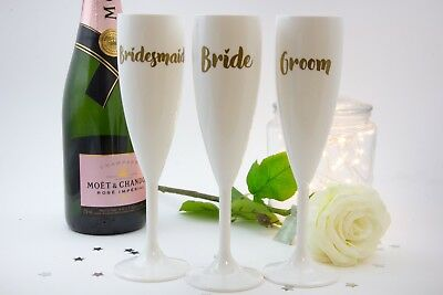 White Plastic Champagne Flute Glass Bride Groom Bridesmaid Gift](White Plastic Champagne Flutes)