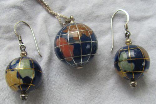 Vintage Sterling Silver Inlay Lapis Multi-Gemstone Globe Earth Earrings Necklace