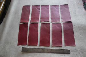 10 SMALL CLARET LEATHER GOATSKIN PANELS 0.5-0.6 mm