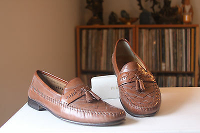 Brass Boot 93186 Brown Stitched Leather Tassel Loafers Men's Size 11.5 Medium