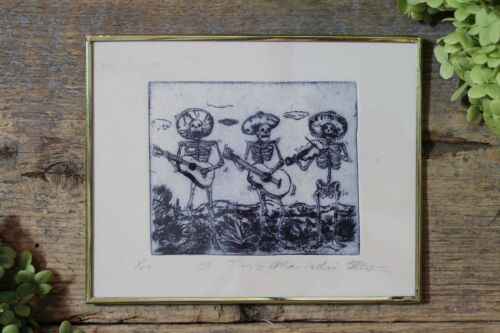 Day of the Dead Mariachi Skeletons Framed Etching by Abelar Mexican Folk Art