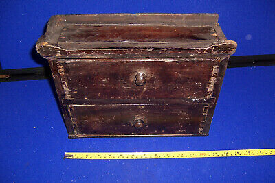 Vintage/antique two drawer small wooden cabinet tool box workshop storage
