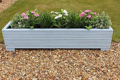 Light Blue 100x22x23 (cm) Wooden Garden Trough Planter or Plant Pots