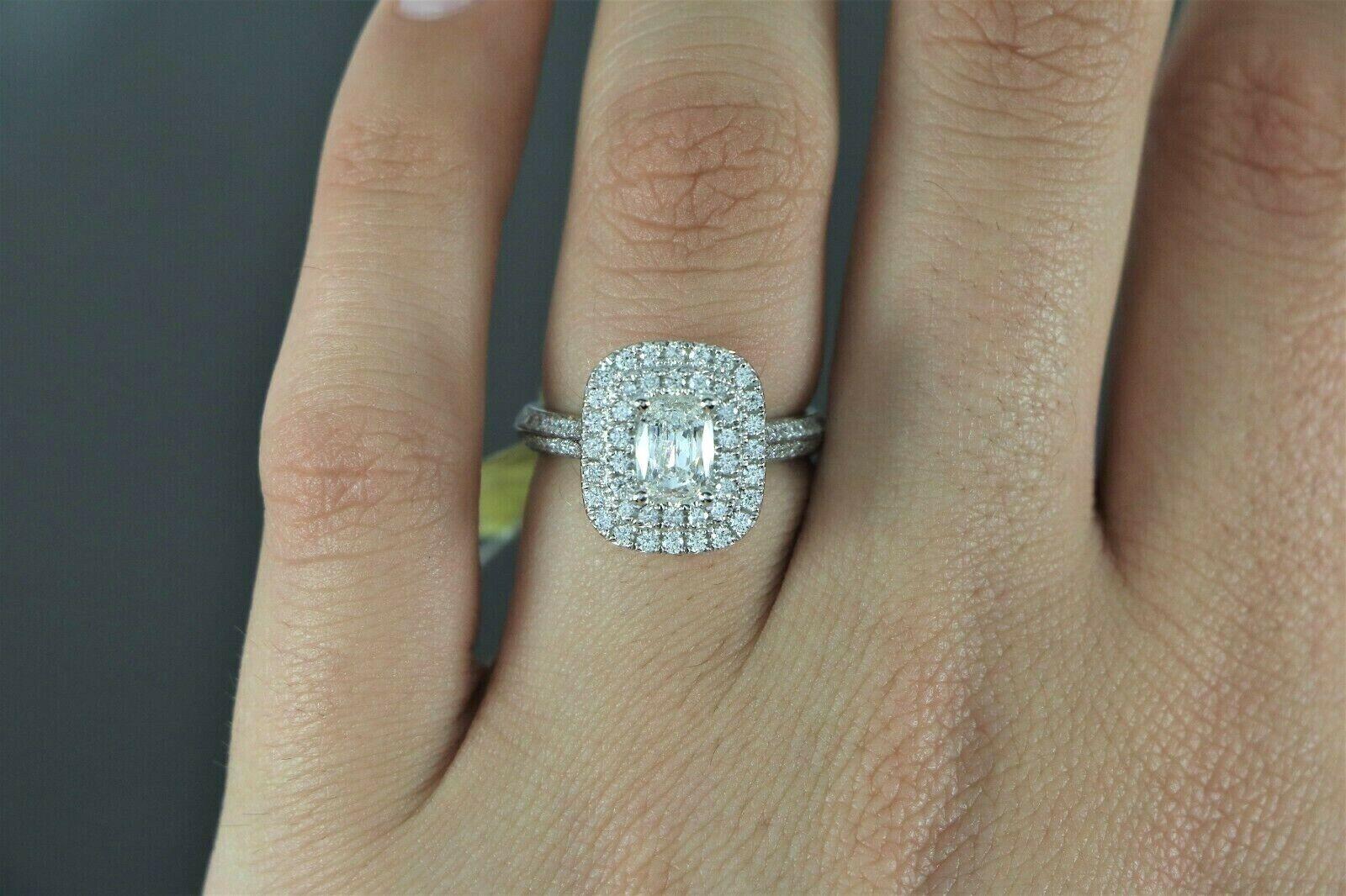 $5,150 S&S 14K White Gold 1.14ct GIA SI2 Cushion Diamond Halo Engagement Ring 6 2
