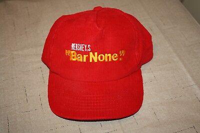 RARE! Vintage Hershey Chocolate BAR NONE Advertisement Hat Cap Corduroy Snapback ()