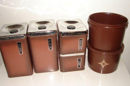 Vintage Kitchen Canister Set Brown Coffee Tea Sugar Flour + Tupperware