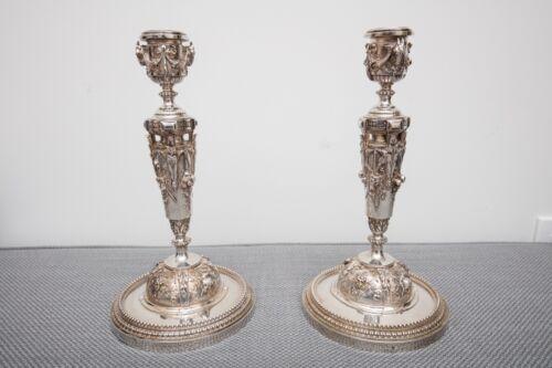 Ferdinand Barbedienne Paris Silver Gilt Bronze Candlestick Pair, Ornate, Cherubs