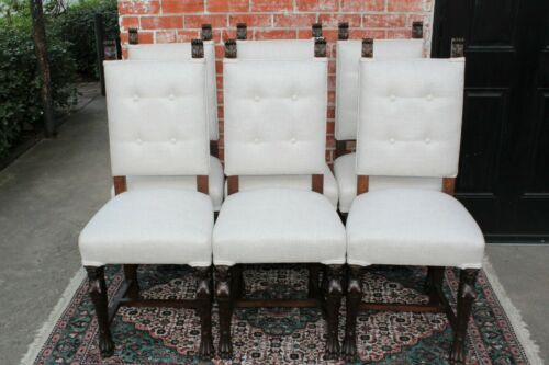 Set of 6 French Antique Renaissance Dining Chairs With New Upholstery