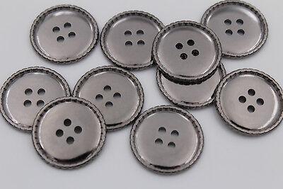 silber dunkel titan Metallknöpfe schlicht und flach 4 Loch preisgünstig 10 Stück