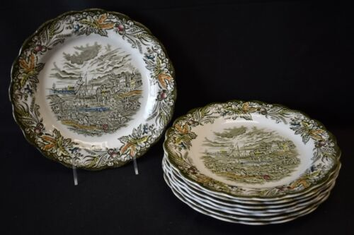 Ridgway Heritage  Set of 8 Dinner Plates (Faults) Green Multicolor England