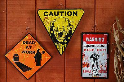 Metal Halloween Horror Dead at Work Caution Danger Road Sign Decoration