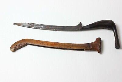 Antique Weapon North Sumatra Asian Badik Bugis Carved Wood Scabbard, Iron Knife