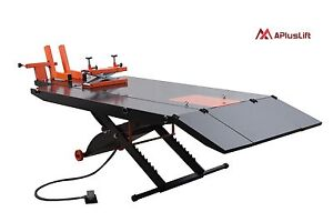 Upgraded APlusLift MT1500X 1500LB Air Op Motorcycle Lift Table with Side Ext.