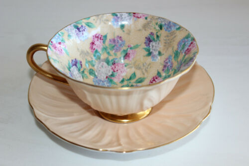 Shelley Peach Summer Glory Chintz-Oleander Bone China Footed Teacup/Saucer