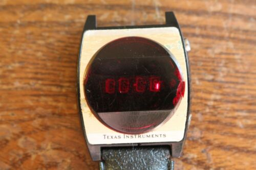 Really Old Texas Instrument Wrist Watch with Black Band
