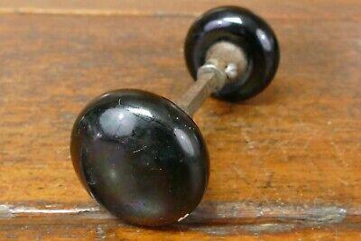 Antique Black Porcelain Doorknob Set