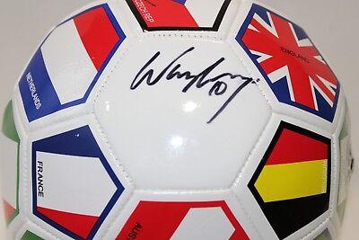 Wayne Rooney Signed International Flags Soccer Ball (Beckett COA) - International Soccer Ball