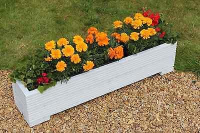 White 100x22x23 (cm) Wooden Garden Trough Planter or Plant Pots