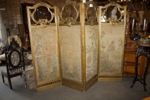ANTIQUE FRENCH GILT WOOD AND NEEDLEWORK  DRESSING SCREEN. ca. 1870-90