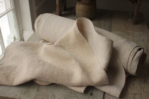 SOFT LINEN Antique fabric vintage 12.5 YARDS organic WASHED upholstery material