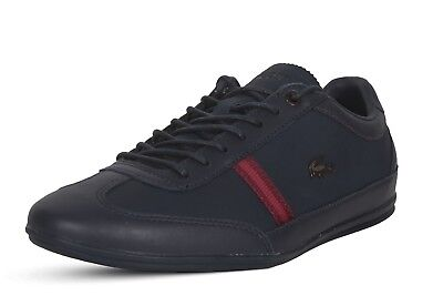 (Lacoste Sneakers Misano 318 1 CAM Casual Fashion Shoes Leather Lace Up Navy Red)