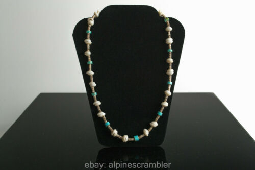 Puka shells with small shell and turquoise beads necklace