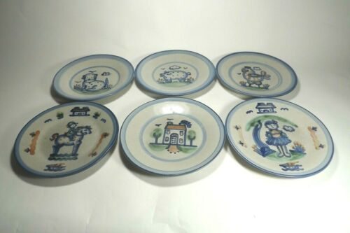 """Vintage M.A. HADLEY COUNTRY PATTERN Signed Pottery (6) 9"""" LUNCH PLATES"""
